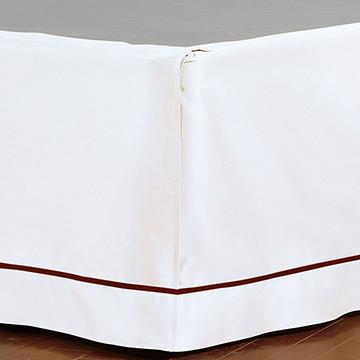 Linea Velvet Ribbon Bed Skirt In White & Shiraz