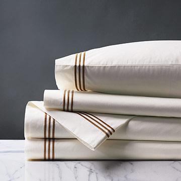 Tessa Satin Stitch Sheet Set in Ivory/Brown