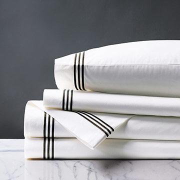 Tessa Satin Stitch Sheet Set in White/Black