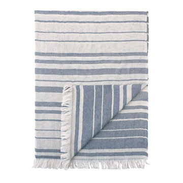 Row Striped Throw In Blue