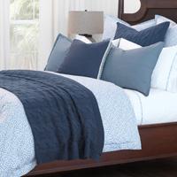 Avalon - 100% cotton,cotton,cable knit,woven,designer,luxury,bedding,throw,coverlet,pillow,cozy,winter,summer,layer,homey,aran,comfortable,comfy,washable,machine washable,blanket,bedspread,textured,tactile,natural,traditional,classic,blue,white,grey,gray,versatile