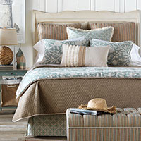 Avila - shabby chic bedding,bohemian bedding,coastal bedding,earth tone bedding,lake house bedroom,beach house,neutral,brown and green,contemporary,casual,spa toned bedding,floral
