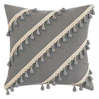 Felicity Diagonal Beaded Trim Decorative Pillow