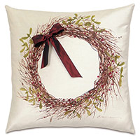 Wreath Handpainted Decorative Pillow in Red