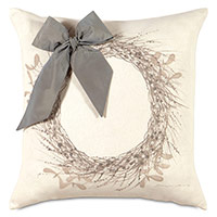 Wreath Handpainted Decorative Pillow in Silver
