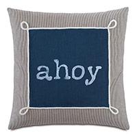 Bay Blockprinted Decorative Pillow in Ahoy
