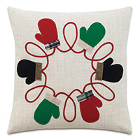 Mitten Applique Decorative Pillow