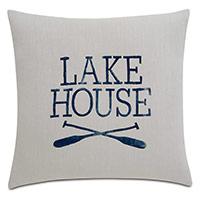 Cove Blockprinted Decorative Pillow in Lake