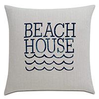Cove Blockprinted Decorative Pillow in Beach