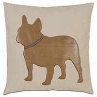 Frenchie Applique Decorative Pillow