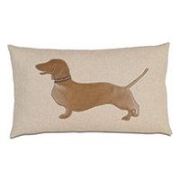 Dachshund Applique Decorative Pillow