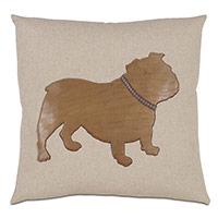 Bulldog Applique Decorative Pillow