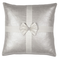 Gift Bow Decorative Pillow in Silver