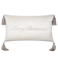 Christmas Embroidered Decorative Pillow in Silver