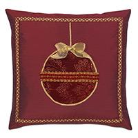 Noel Ornament Decorative Pillow in Burgundy