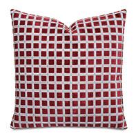 Stamp Cut Velvet Decorative Pillow In Ruby