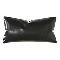 Tudor Leather Decorative Pillow in Onyx