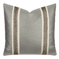 Dax Beaded Trim Decorative Pillow in Taupe