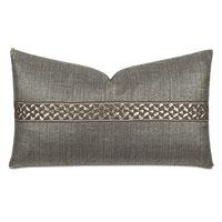 Salazar Metallic Border Decorative Pillow in Slate