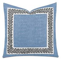 Saturn Leaf Border Decorative Pillow in Indigo