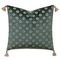 Mint Punch Lasercut Accent Pillow In Dark Green