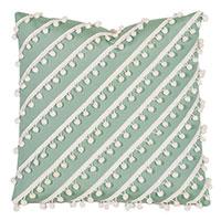 Cove Ball Trim Decorative Pillow in Celadon
