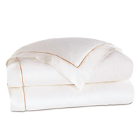 Linea Velvet Ribbon Duvet Cover In White & Nectar