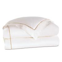 Linea Velvet Ribbon Duvet Cover In White & Sable