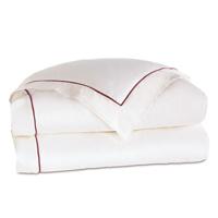 Linea Velvet Ribbon Duvet Cover In White & Shiraz