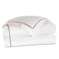 Linea Velvet Ribbon Duvet Cover In White & Walnut