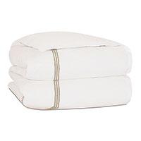 Tessa Satin Stitch Duvet Cover in Ivory/Bisque
