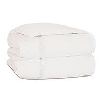 Tessa Satin Stitch Duvet Cover in Ivory/White