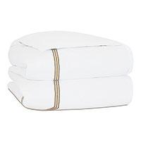 Tessa Satin Stitch Duvet Cover in White/Antique