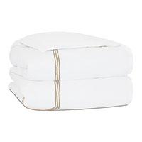 Tessa Satin Stitch Duvet Cover in White/Bisque