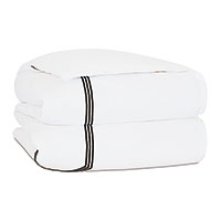 Tessa Satin Stitch Duvet Cover in White/Black