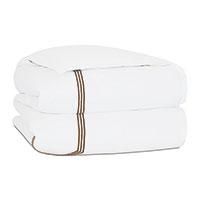 Tessa Satin Stitch Duvet Cover in White/Brown