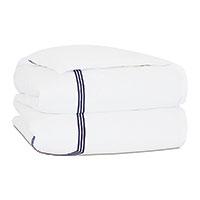 Tessa Satin Stitch Duvet Cover in White/Navy