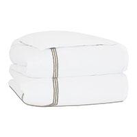Tessa Satin Stitch Duvet Cover in White/Sable