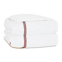 Tessa Satin Stitch Duvet Cover in White/Scarlet