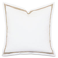 Tessa Satin Stitch Euro Sham in White/Antique