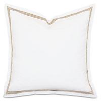 Tessa Satin Stitch Euro Sham in White/Bisque