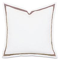 Tessa Satin Stitch Euro Sham in White/Brown
