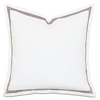 Tessa Satin Stitch Euro Sham in White/Sable