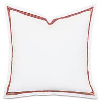 Tessa Satin Stitch Euro Sham in White/Scarlet
