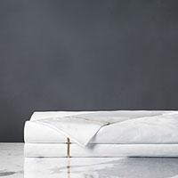 Linea Velvet Ribbon Flat Sheet In White & Antique