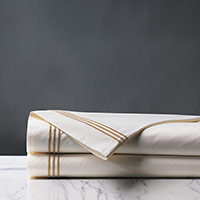 Tessa Satin Stitch Flat Sheet in Ivory/Antique