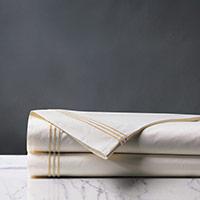 Tessa Satin Stitch Flat Sheet in Ivory/Bisque