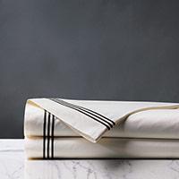 Tessa Satin Stitch Flat Sheet in Ivory/Black