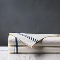 Tessa Satin Stitch Flat Sheet in Ivory/Navy