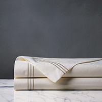 Tessa Satin Stitch Flat Sheet in Ivory/Sable
